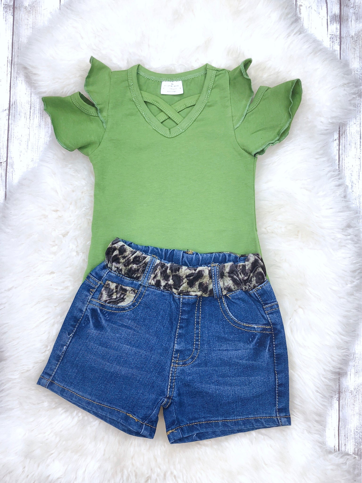 fd78bf65c Olive short sleeve ruffle top/t-shirt with denim shorts set