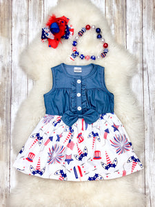 Denim Unicorn Dress- Patriotic
