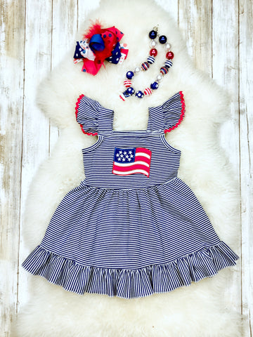 American Flag Cotton Ruffle Dress- Patriotic