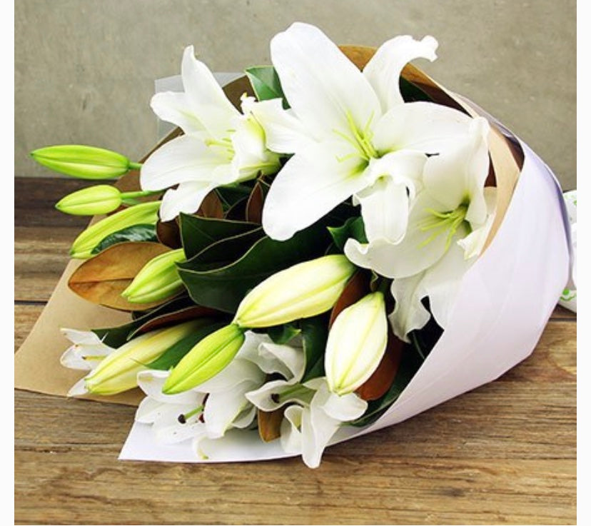 Lush Oriental Lillies with Foliage