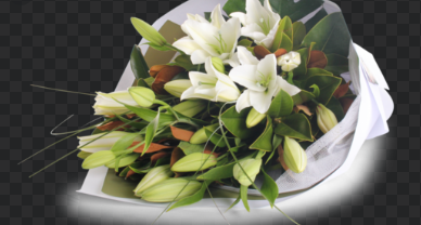 Oriental Lillies with Glasshouse Candle - Flowers of Phillip Island