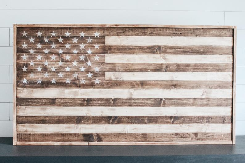Rustic Wood American Flag