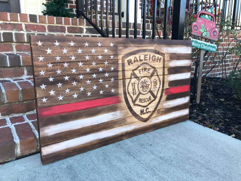 Raleigh Fire Fighter Flag - Thin Red Line