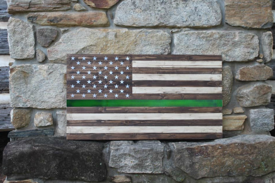 Thin Green Line Wood Flag | 36x20