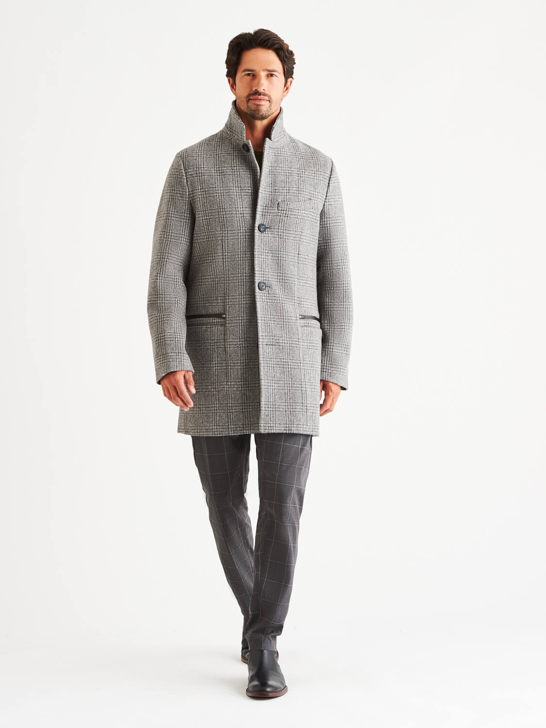 Bordin Wool Plaid Overcoat