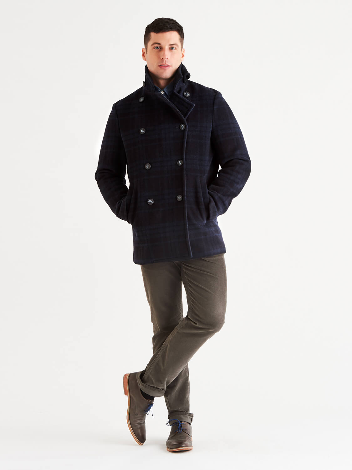 Stewart StormLux™ Plaid Wool Cashmere Peacoat