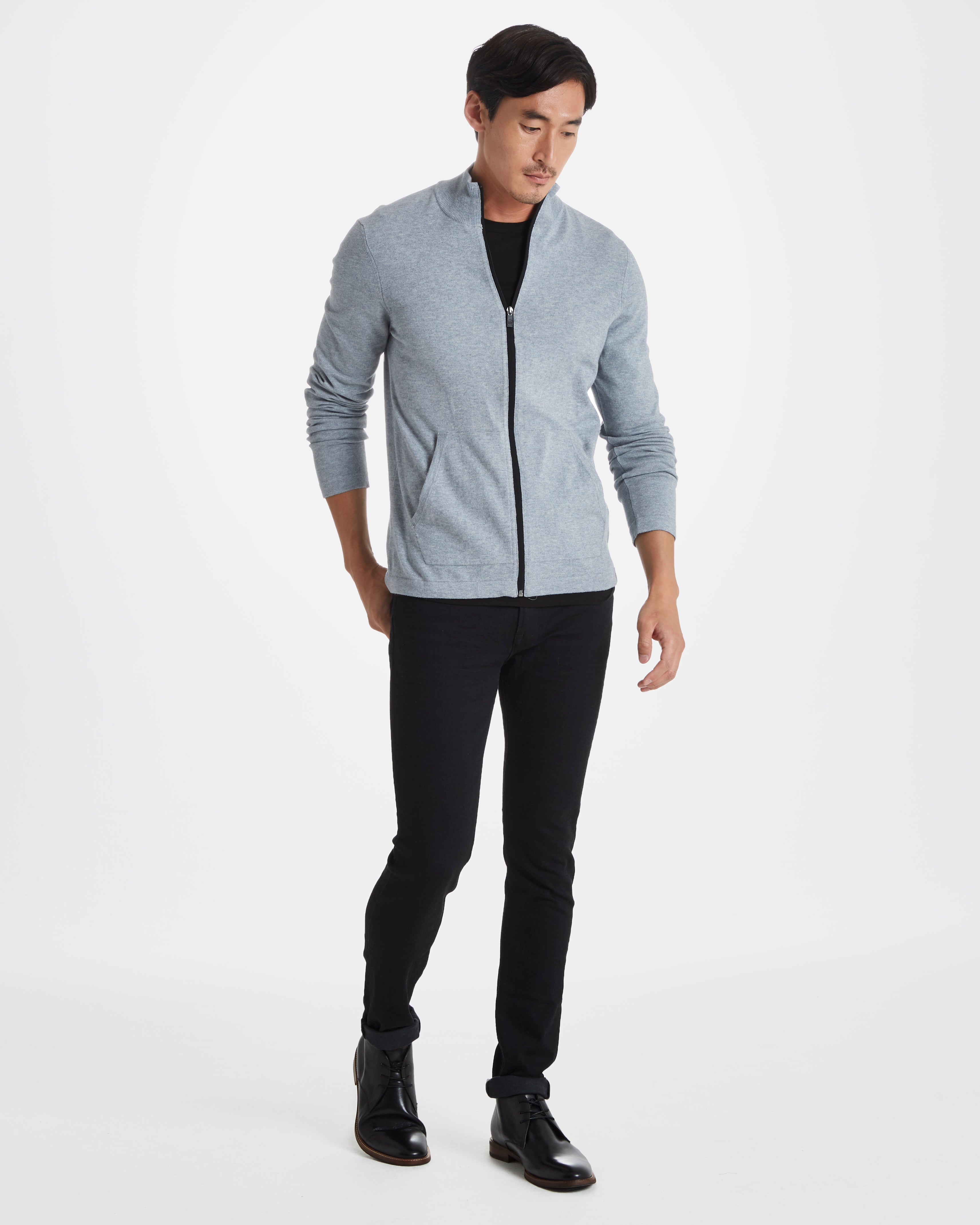 Owen Italian Cotton/Wool Zip Sweater