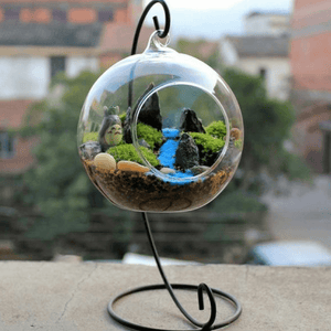Glass terrarium with trees inside.
