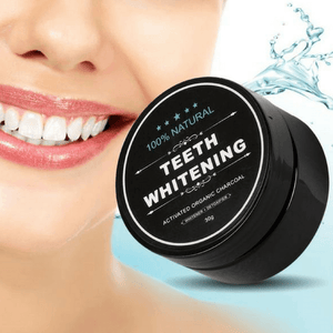 Charcoal teeth whitener container with bright white teeth.