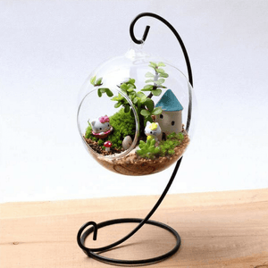 Hanging glass terrarium on wooden desk.