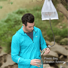 Portable water filter feature with hanging bag.