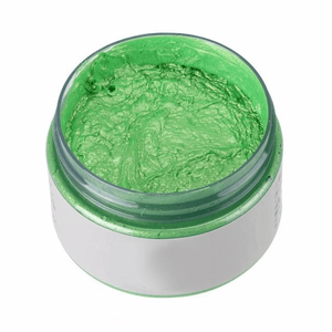 Green color changing hair wax that is not permanent.