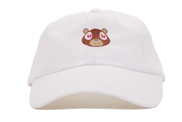 White dad hat with Kanye West Graduation Bear. Brown bear on white cap. Adjustable white cap with bear.