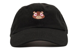 Black dad cap with kanye west graduation bear. Black dad hat with brown bear. Adjustable black cap.