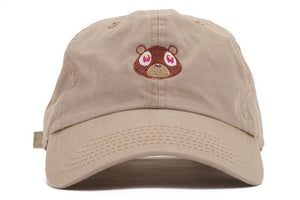 Pink dad hat with kanye west graduation bear. Brown bear on pink cap. Adjustable pink cap.