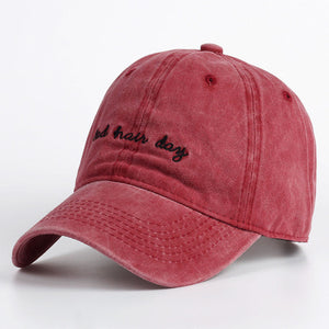 Red Bad Hair Day Dad Hat.