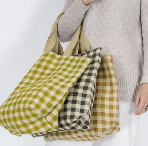 Apple Green Duck JUTE/COTTON Navy Gingham Tote