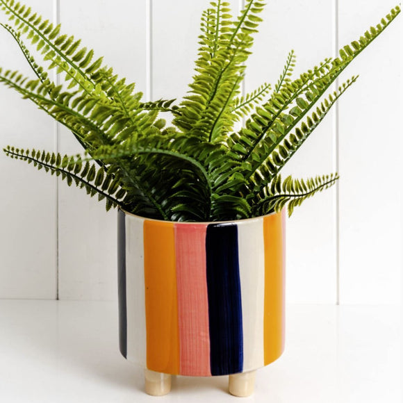 Striped Ceramic Planter