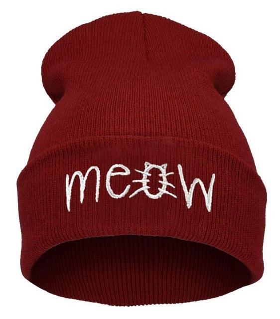 Meow Embroidered All Weather Beanies-Beanies-Nische ... a9d20c580394