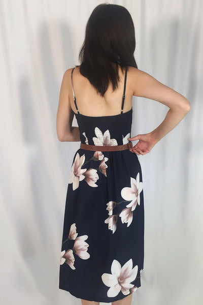 SABRINE NAVY FLOWER MIDI DRESS