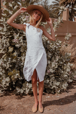 BELLA ONE SHOULDER LINEN DRESS- WHITE