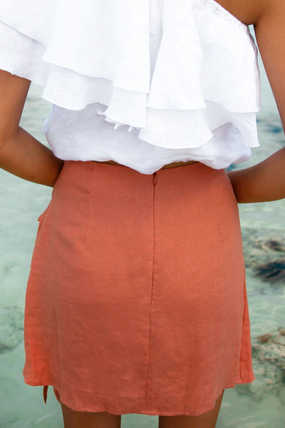 EDDIE LINEN WRAP SKIRT