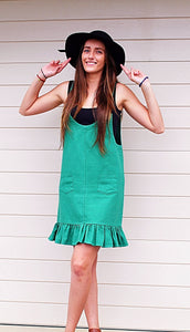 SWEET POT CASUAL GREEN PINAFORE DRESS