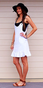 SWEET POT CASUAL WHITE PINAFORE DRESS