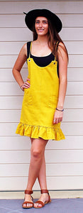 SWEET POT CASUAL MUSTARD PINAFORE DRESS