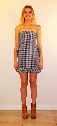 LEXIE STRAPLESS GINGHAM DRESS - BLACK