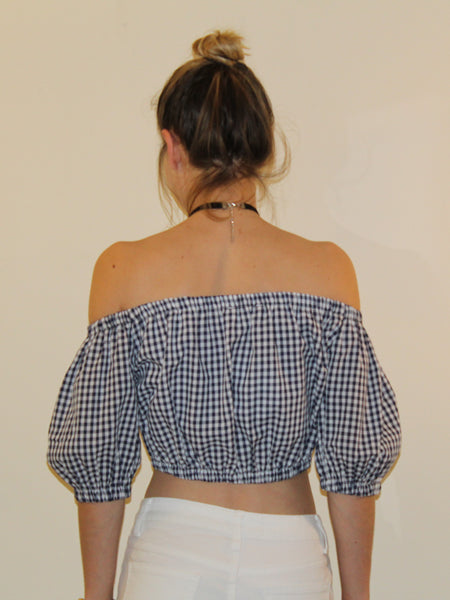 LIZZY NAVY GINGHAM OFF THE SHOULDER TOP