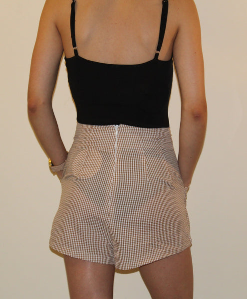 GINGHAM SHORTS - BEIGE
