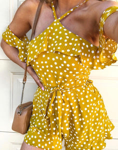 SPOT ON PLAYSUIT IN MUSTARD
