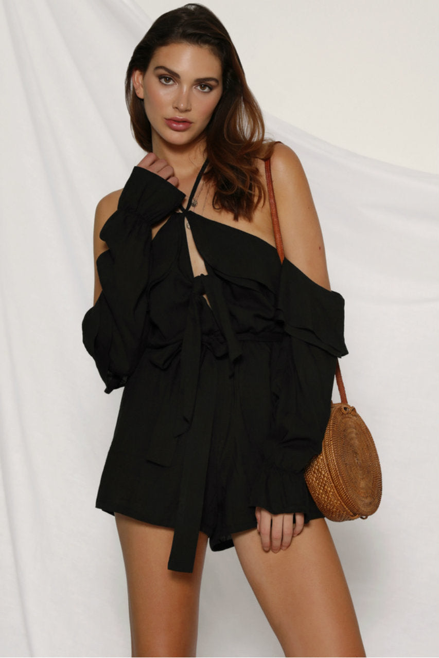 SAHARA PLAYSUIT - BLACK