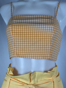 GINGHAM CROP TOP - YELLOW