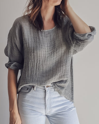 SIENA LINEN BLEND TOP - CHARCOAL