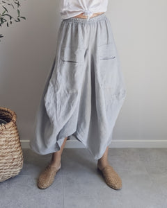 MARINELLA  LINEN SKIRT - PEBBLE