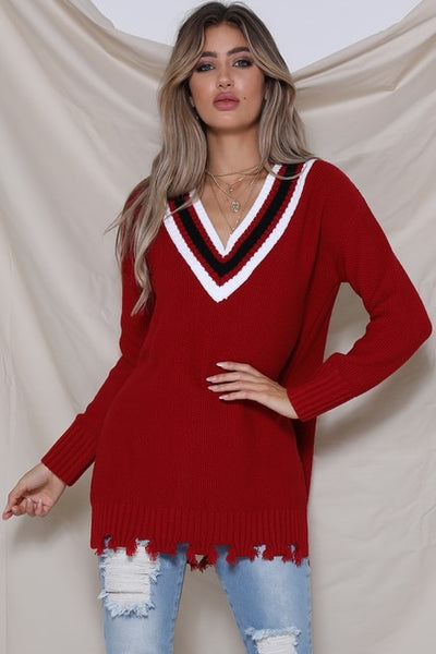 CHEERLEADER SWEATER - RED