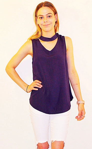 CHOKER TOPS - WHITE / NAVY