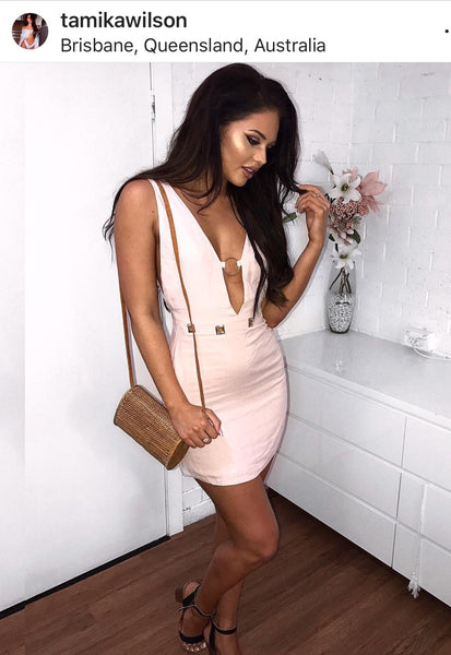 STELLA LOW CUT MINI DRESS - PINK