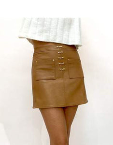 CACTUS TAN LEATHER SKIRT