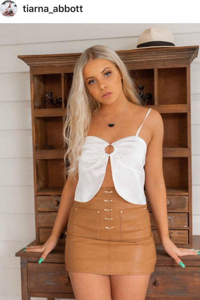 CACTUS TAN FAUX LEATHER SKIRT