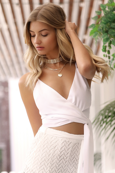 LABOUR OF LOVE WRAP TOP - WHITE