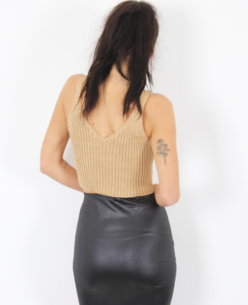 METALIC RIB CAMI CROP TOP - GOLD