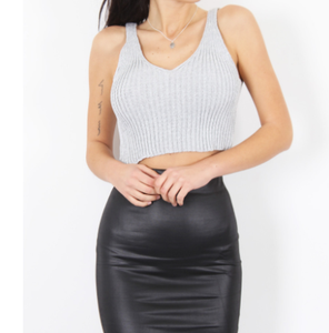 METALIC RIB CAMI CROP TOP - SILVER