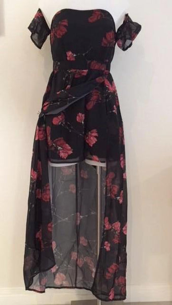 FLORAL THIGH SPLIT BARDOT MAXI DRESS