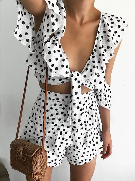 SPOT ON SHORTS-WHITE WITH BLACK DOTS