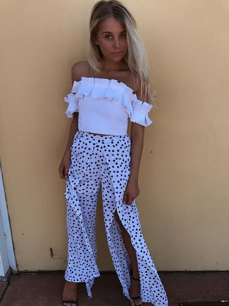 SPOT ON PANTS - WHITE WITH BLACK SPOTS