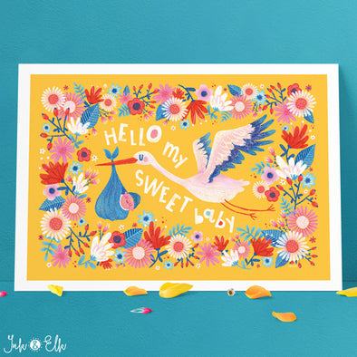 Hello Baby Nursery Print by Ink & Elk. Designed in Australia.