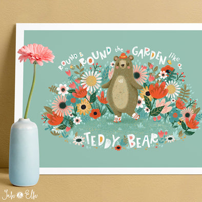 Teddy Bear Kids Print by Ink & Elk. Designed in Australia.